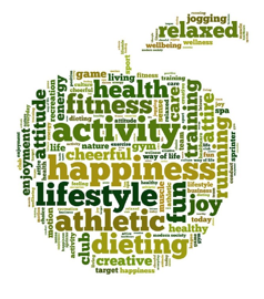 Apple with positive words - mental wellbeing workshop